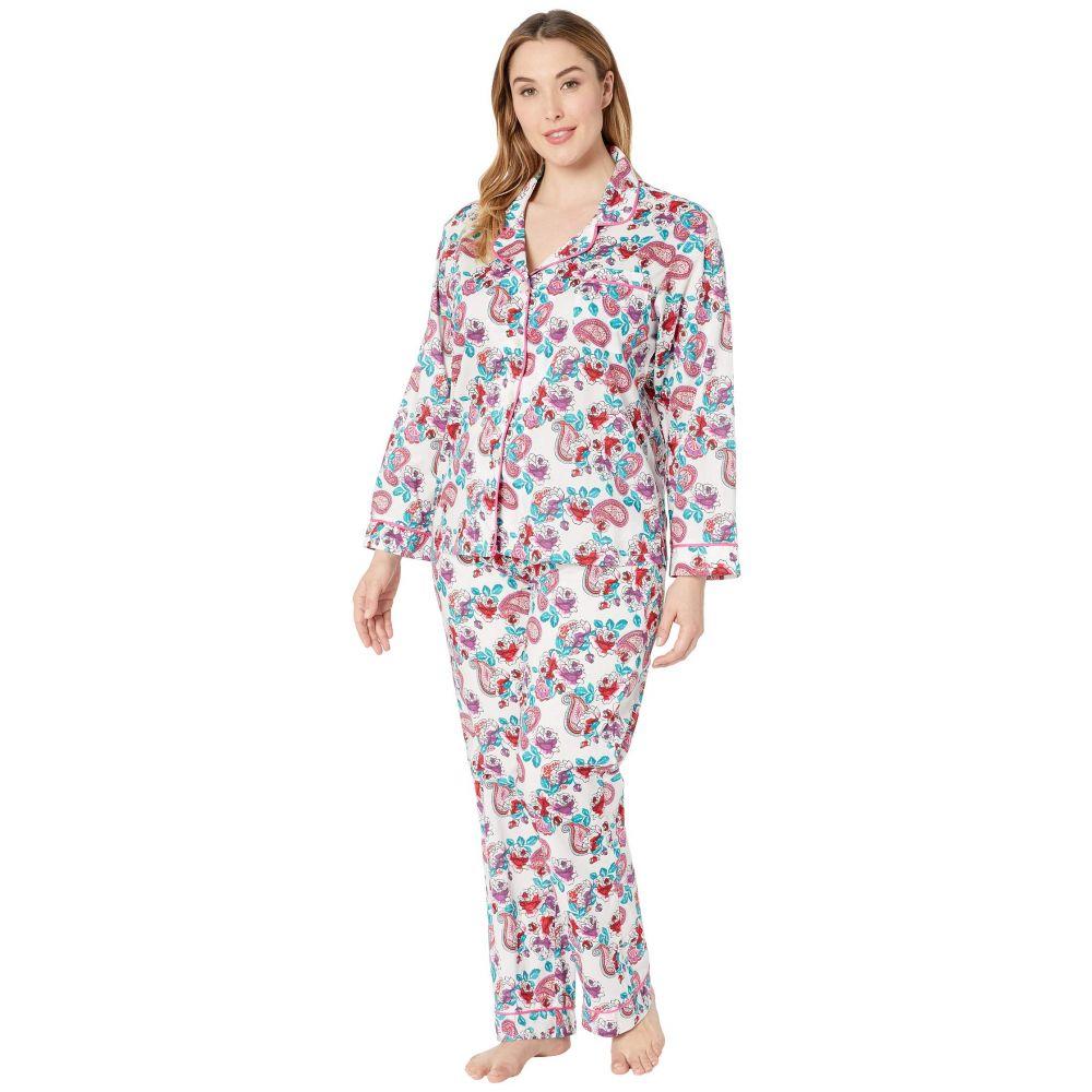 ベッドヘッド BedHead Pajamas レディース インナー・下着 パジャマ・上下セット【Plus Size Long Sleeve Classic Notch Collar Pajama Set】Eastern Roses/White Ground