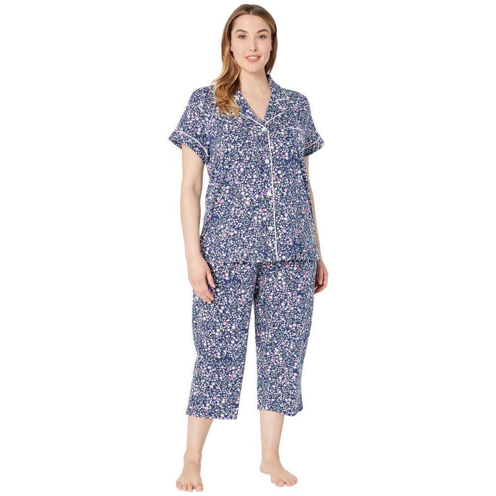 ラルフ ローレン LAUREN Ralph Lauren レディース インナー・下着 パジャマ・上下セット【Plus Size Short Sleeve Notch Collar Capris Pajama Set】Navy Floral Print