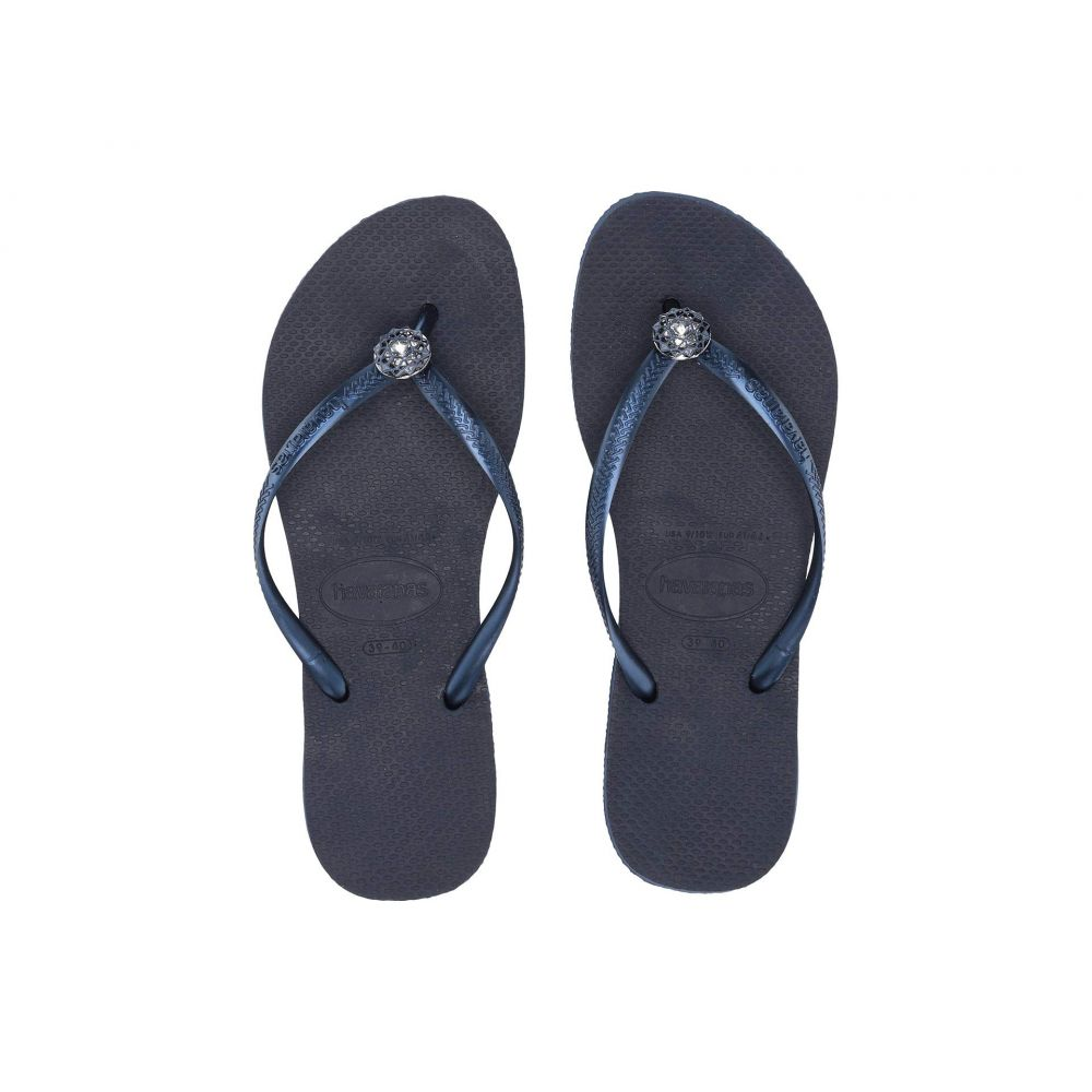 ハワイアナス Havaianas レディース シューズ・靴 ビーチサンダル【Slim Crystal Poem Flip Flops】Navy Blue/Navy Blue/Metallic Navy Blue