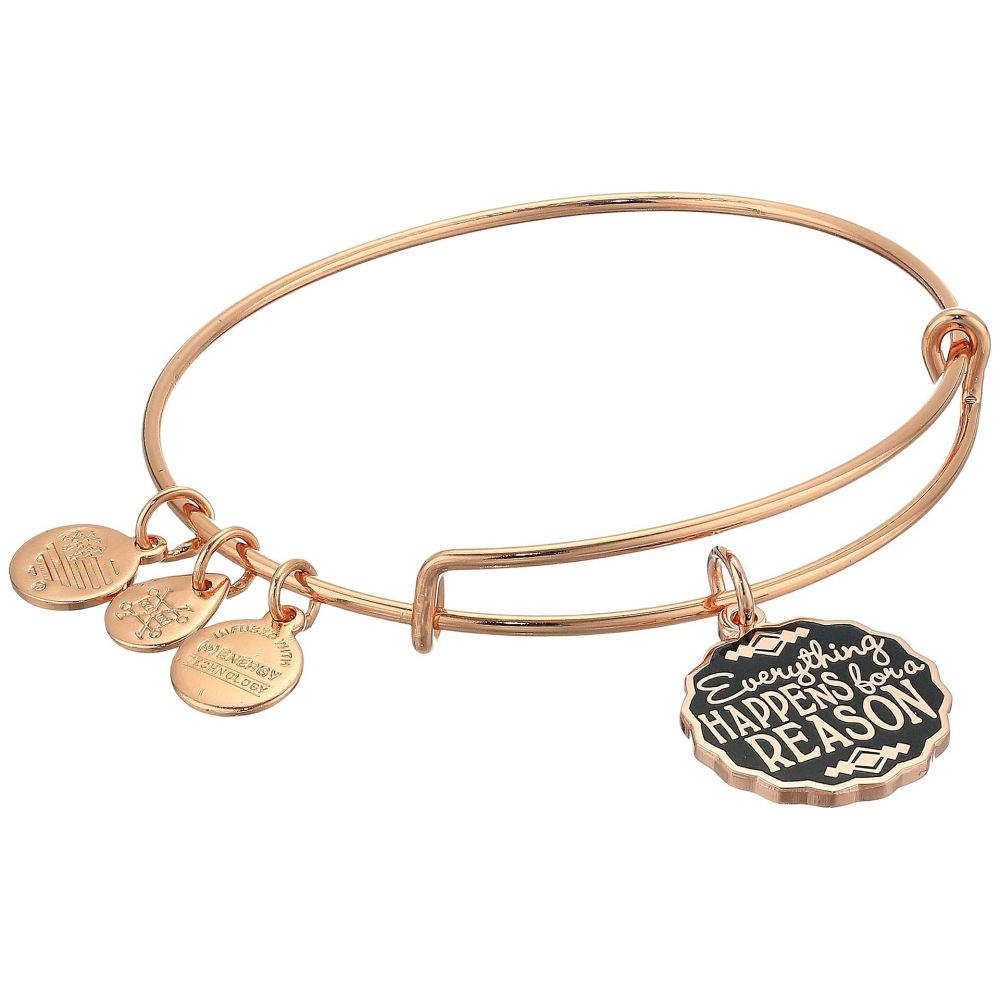 アレックス アンド アニ Alex and Ani レディース ジュエリー・アクセサリー ブレスレット【Words Are Powerful Everything Happens for A Reason Bangle Bracelet】Shiny Rose Gold
