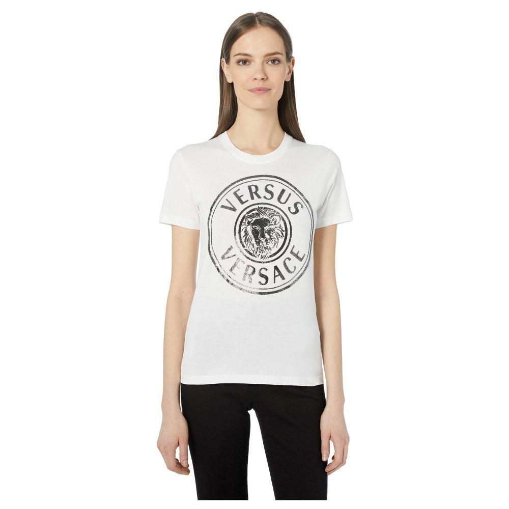 ヴェルサーチ Versus Versace レディース トップス Tシャツ【Sparkle Logo T-Shirt】White/Silver