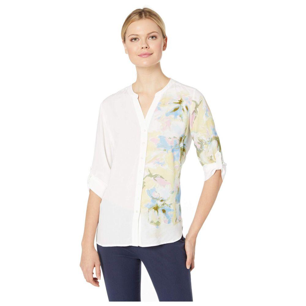 エフディジェイフレンチ FDJ French Dressing Jeans レディース トップス ブラウス・シャツ【Printed Blousing Blended Floral Print Tab Up Sleeve Blouse】White