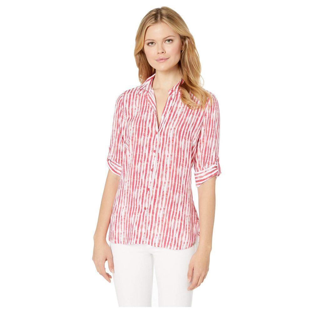 エフディジェイフレンチ FDJ French Dressing Jeans レディース トップス ブラウス・シャツ【Printed Blousing Hazy Stripe Tab Up Sleeve Blouse】Coral