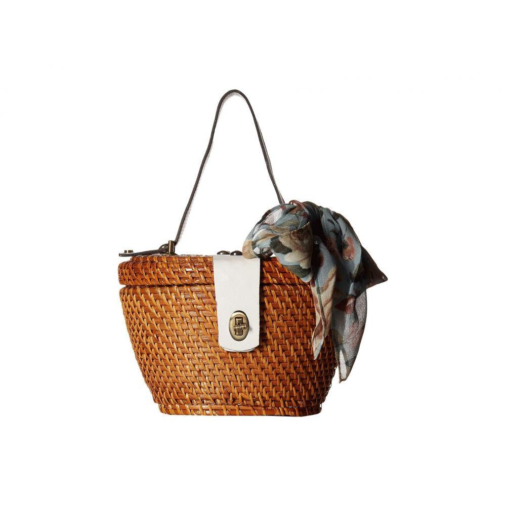 パトリシア ナッシュ Patricia Nash レディース バッグ ハンドバッグ【Wicker Caselle Basket】Tan/White Trim/Crackled Rose Scarf