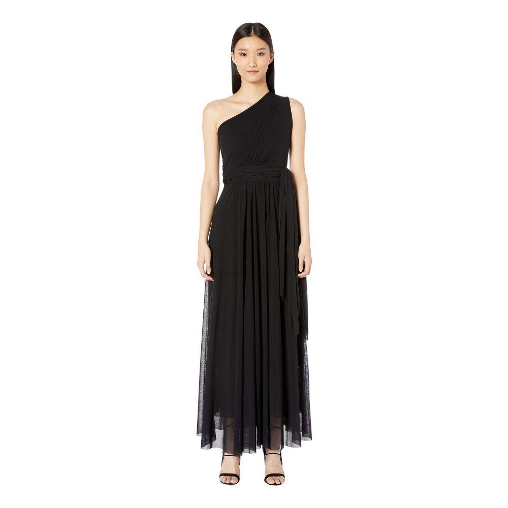 ファジー FUZZI レディース ワンピース・ドレス ワンピース【Solid One Shoulder Long Belted Dress】Nero