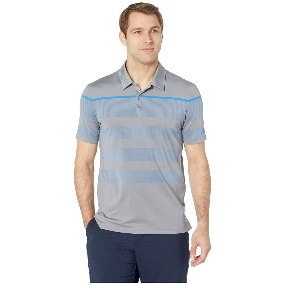 アディダス adidas Golf メンズ トップス ポロシャツ【Ultimate Engineered Stripe Polo】Grey Three/True Blue