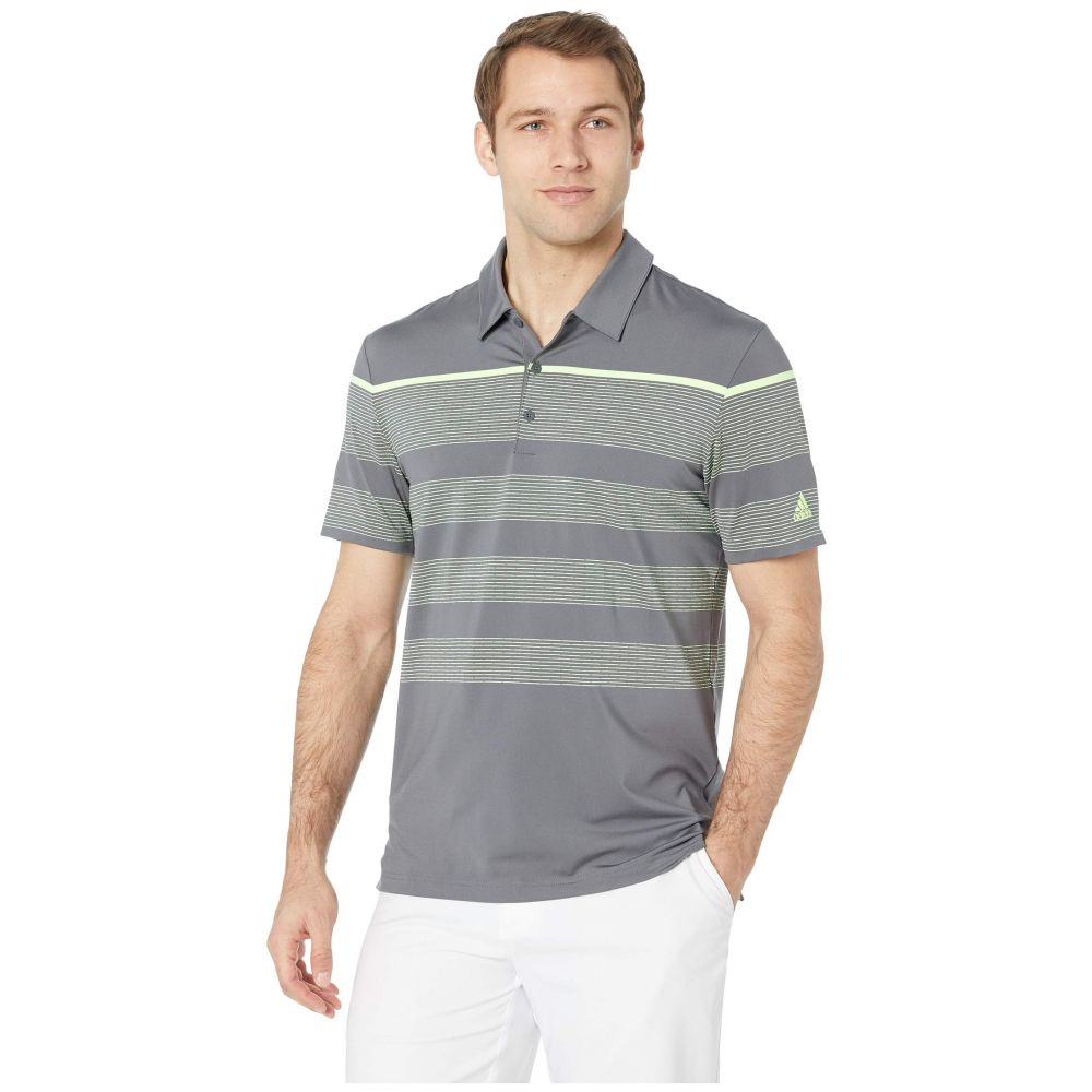アディダス adidas Golf メンズ トップス ポロシャツ【Ultimate Engineered Stripe Polo】Grey Five/Hi-Res Yellow