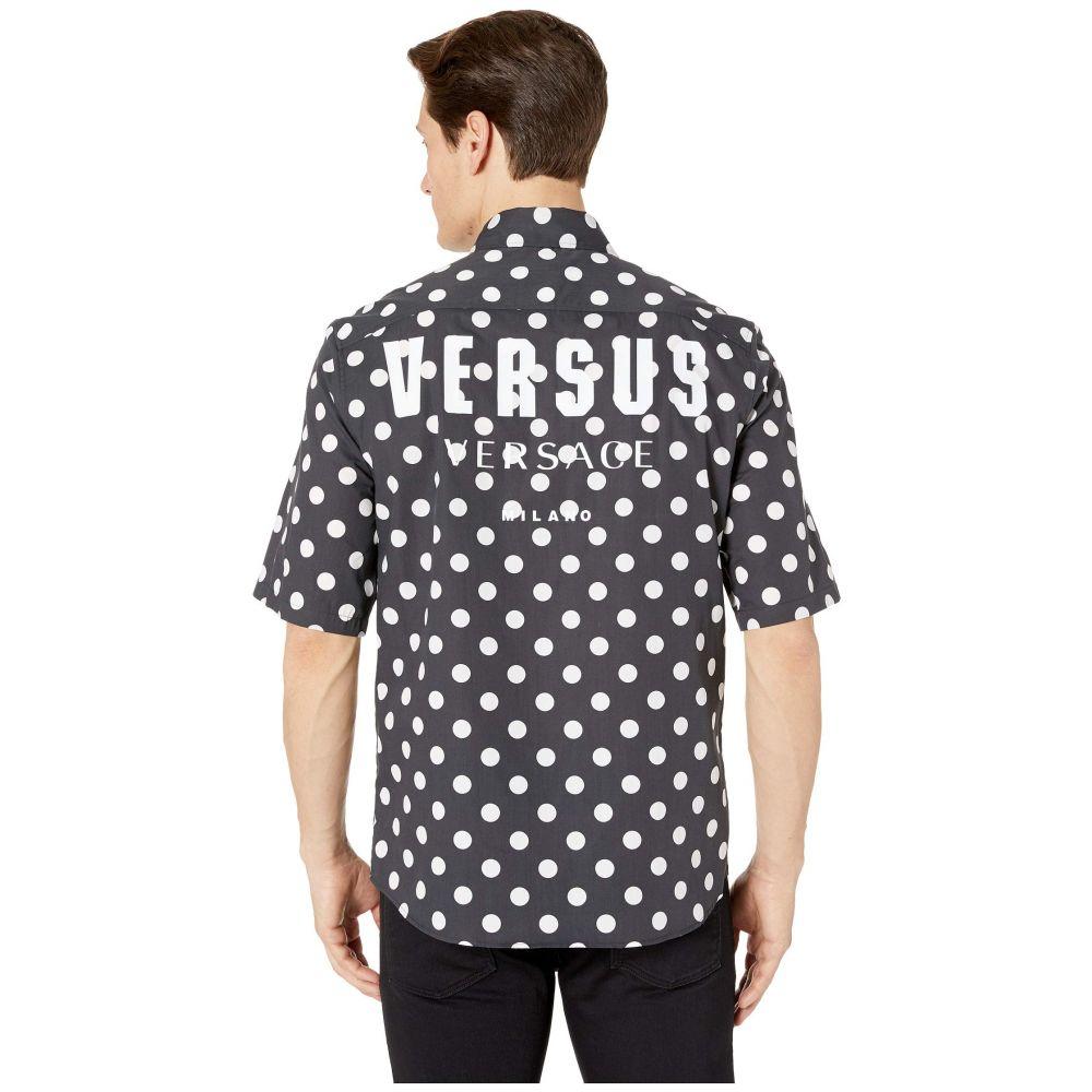 ヴェルサーチ Versus Versace メンズ トップス 半袖シャツ【Logo Short Sleeve Button Down】Black/White