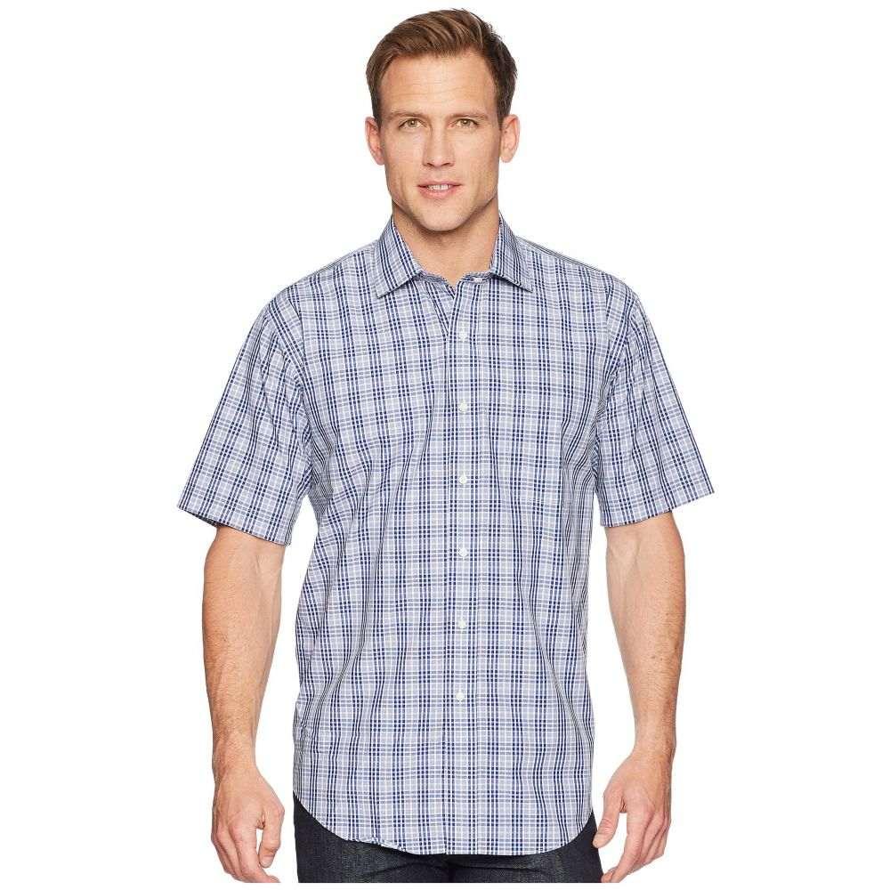 マグナレディ Magna Ready メンズ トップス 半袖シャツ【Short Sleeve Magnetically-Infused Plaid Dress Shirt- Spread Collar】Navy/White