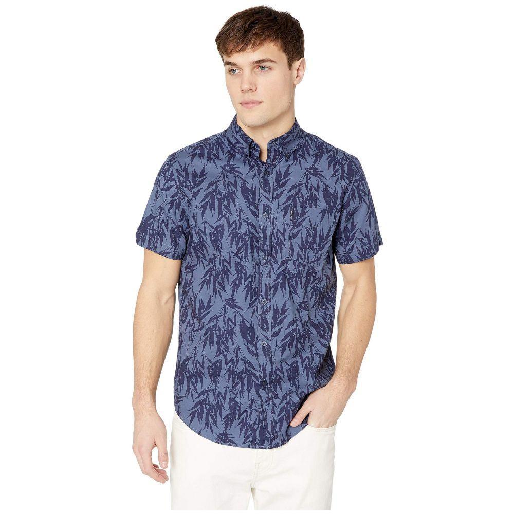 ベンシャーマン Ben Sherman メンズ トップス 半袖シャツ【Short Sleeve Leafy Print Shirt】Navy