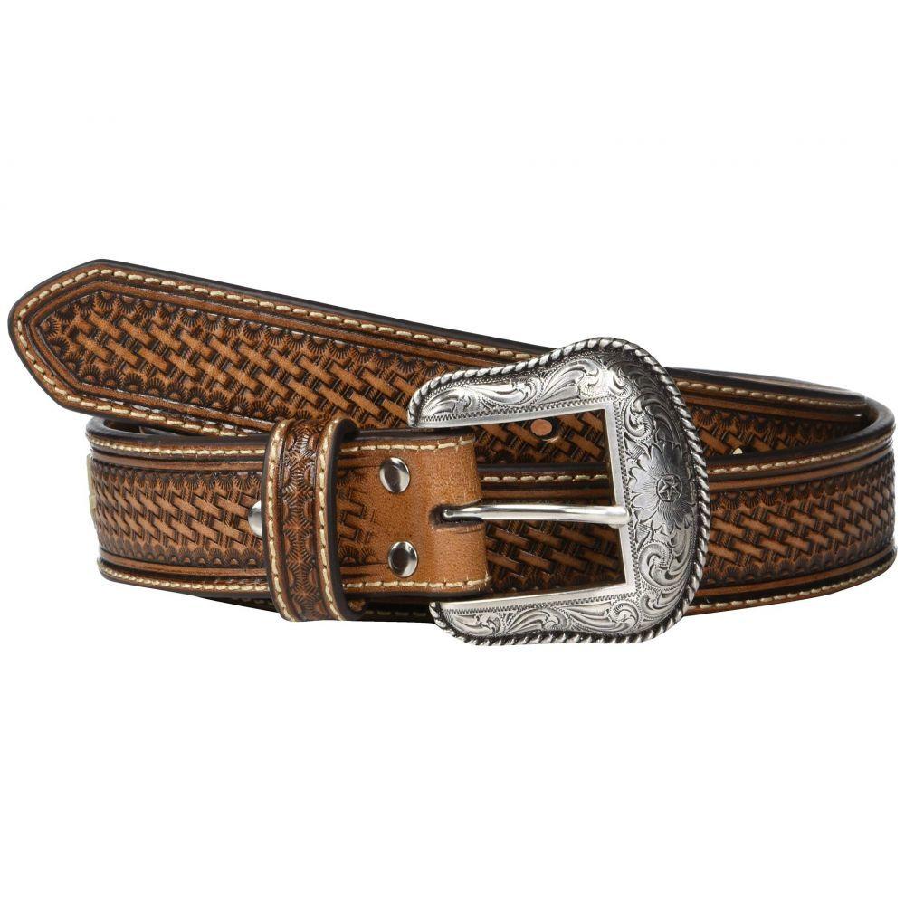 エムアンドエフ ウエスタン M&F Western メンズ ベルト【Nocona Basketweave Emboss Belt w/ Rawhide Lacing】Tan
