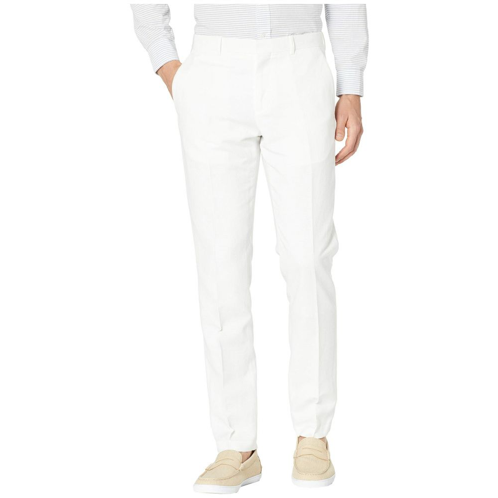 ペリー エリス Perry Ellis メンズ ボトムス・パンツ スキニー・スリム【Slim Fit Linen Cotton End on End Dress Pants】Bright White