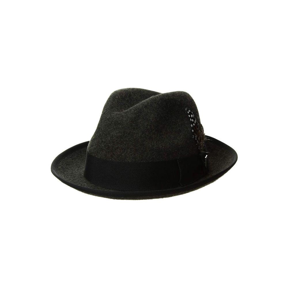 ステイシー アダムス Stacy Adams メンズ 帽子 ハット【Pinch Front Wool Fedora】Charcoal