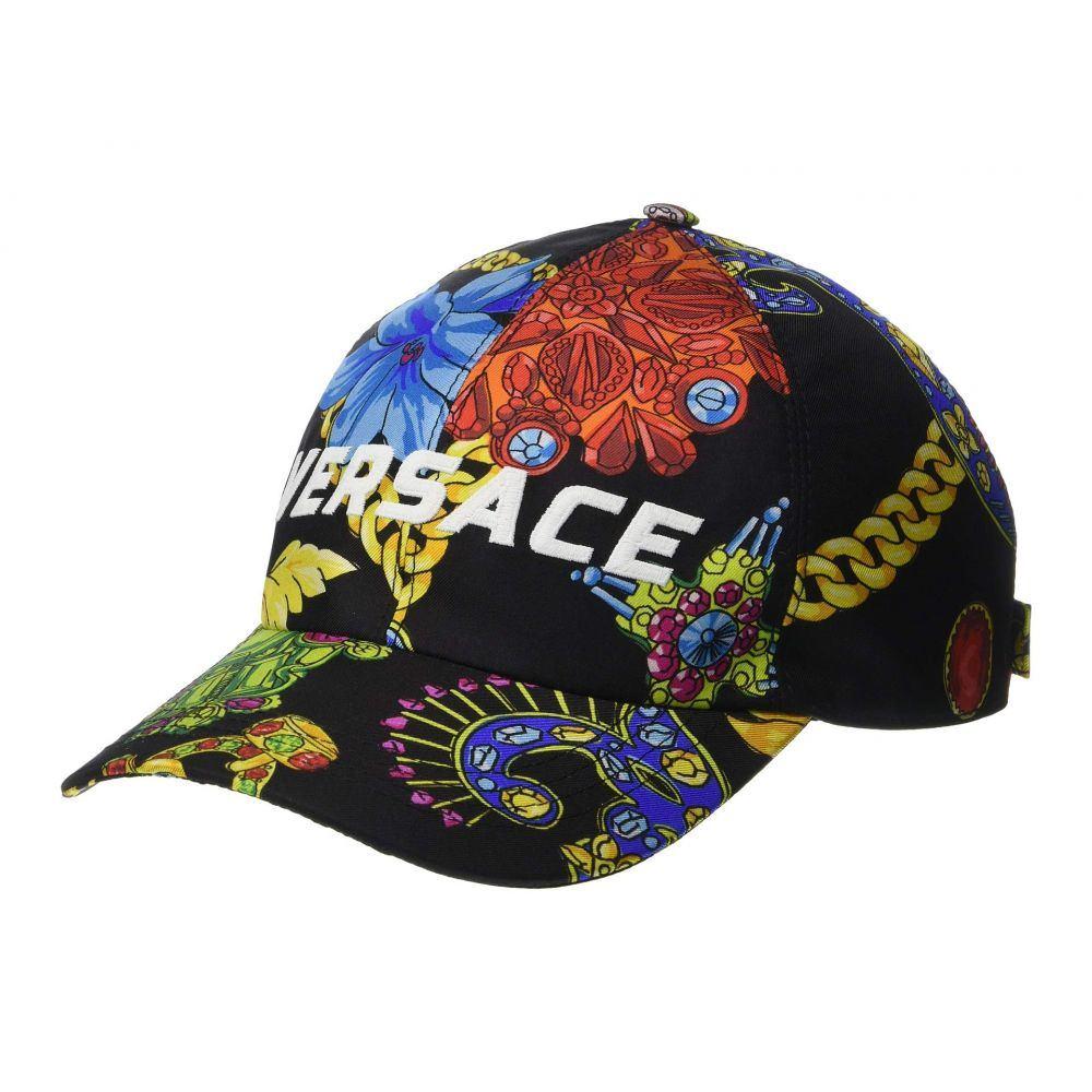 ヴェルサーチ Versace メンズ 帽子 キャップ【Flower & Chain Print Baseball Hat】Black/Print