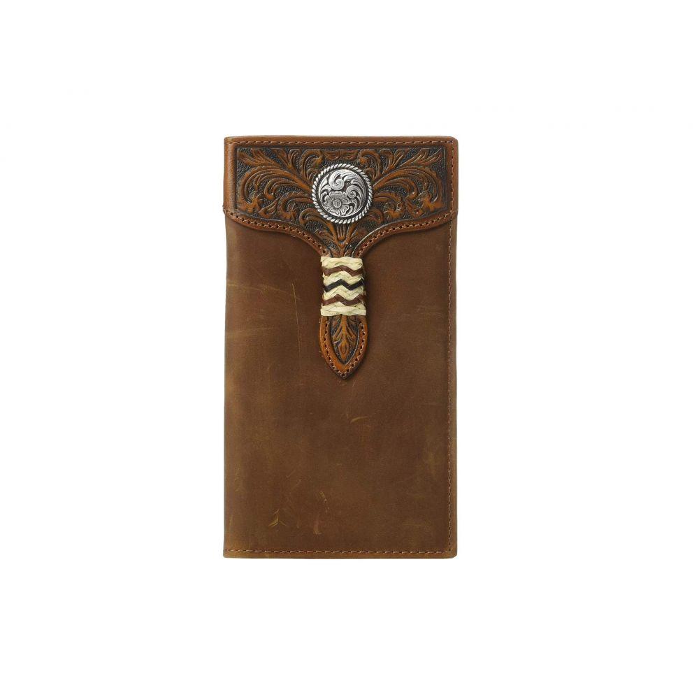 アリアト Ariat メンズ 財布【Rawhide Wrap Overlay w/ Concho Rodeo Wallet】Medium Brown