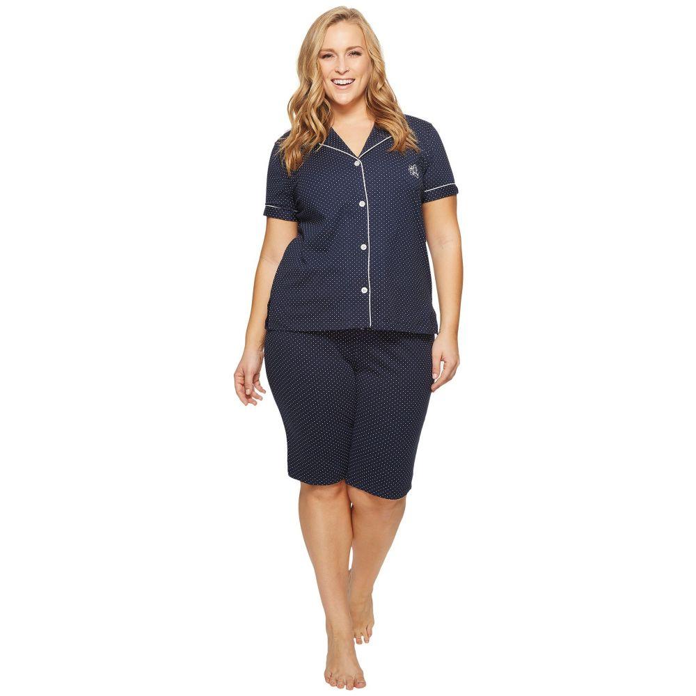 ラルフ ローレン LAUREN Ralph Lauren レディース インナー・下着 パジャマ・上下セット【Plus Size Short Sleeve Notch Collar Bermuda Shorts PJ Set】Windsor Navy/White Dot