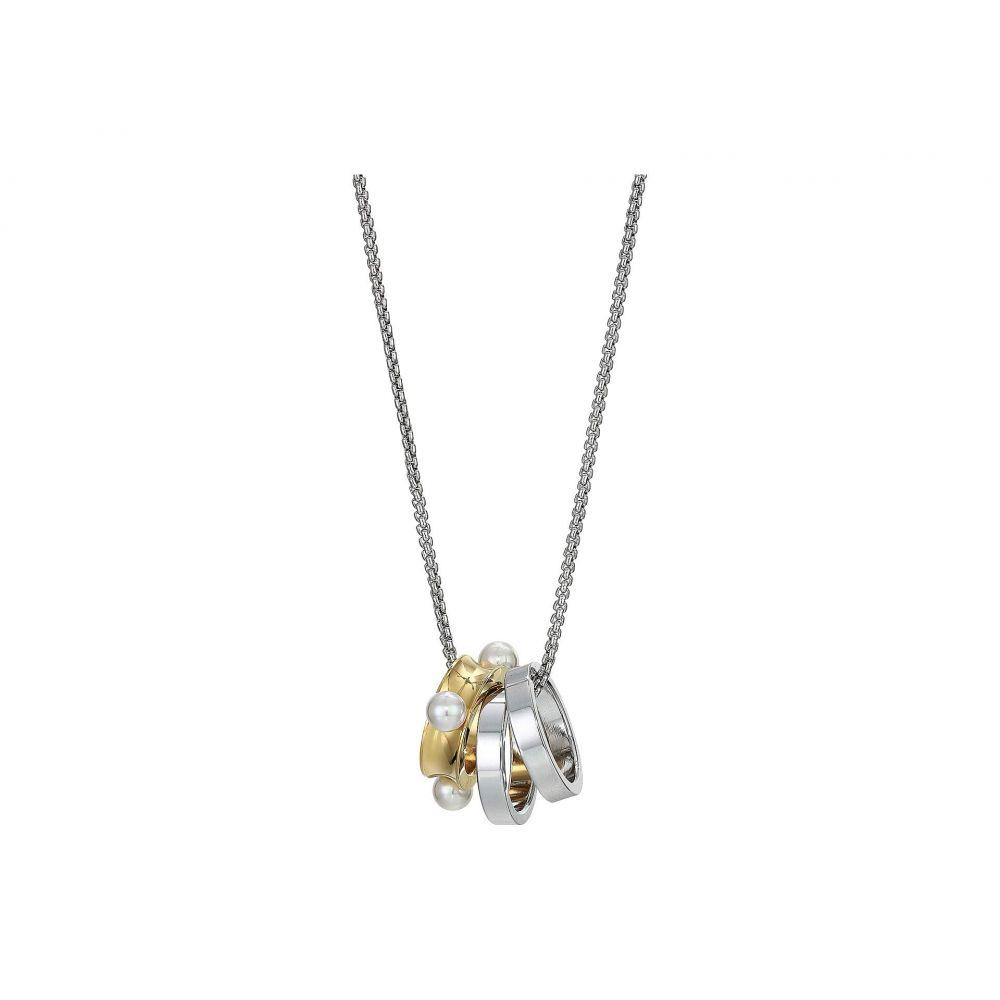 マジョリカ Majorica レディース ジュエリー・アクセサリー ネックレス【15-17' 3 mm Circle Round Pearls Rings Pendant Necklace in Stainless Steel】White