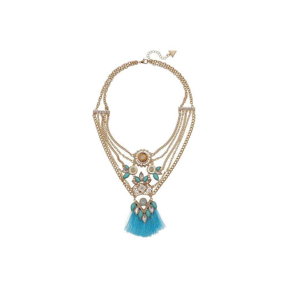 ゲス レディース GUESS レディース with ジュエリー Thread・アクセサリー ネックレス【Multi Chain Statement Necklace with Thread Fringe】Gold/Turquoise, un-アン-:cf903290 --- sunward.msk.ru