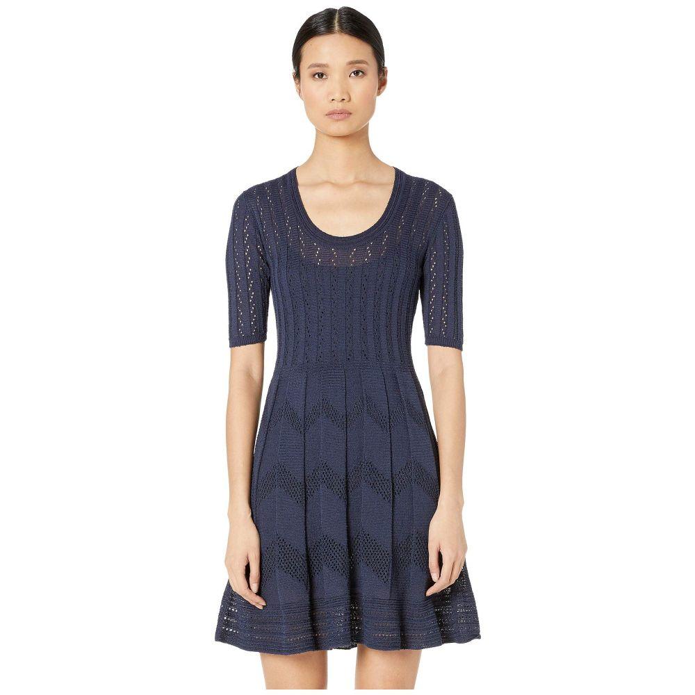 ミッソーニ M Missoni レディース ワンピース・ドレス ワンピース【Short Sleeve U-Neck Short Dress in Zigzag Stitch】Navy