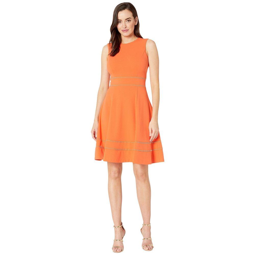 カルバンクライン Calvin Klein レディース ワンピース・ドレス ワンピース【A-Line Dress w/ Embellishment at Waist and Hem】Ember