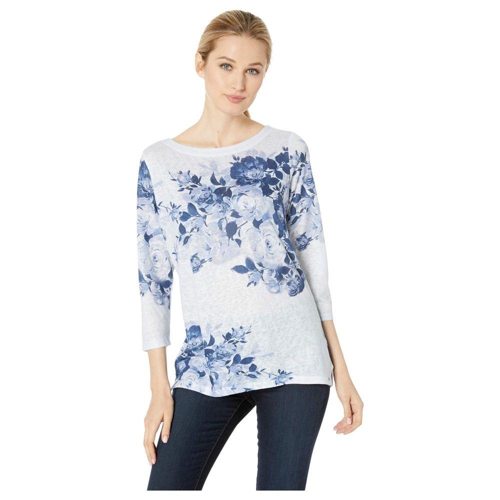エフディジェイフレンチ FDJ French Dressing Jeans レディース トップス【Printed Smooth Jersey Blue Tone Rose Boat Neck Top】Multi