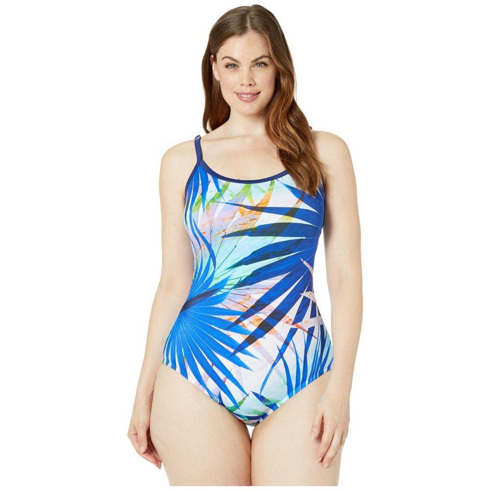 マキシン オブ ハリウッド Maxine of Hollywood Swimwear レディース 水着・ビーチウェア ワンピース【Palm Party Over the Shoulder Maillot One-Piece】Navy