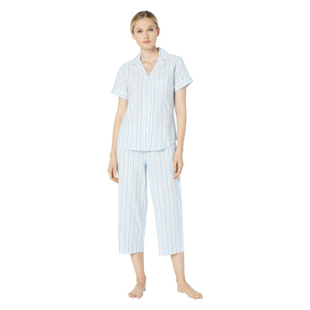 ラルフ ローレン LAUREN Ralph Lauren レディース インナー・下着 パジャマ・上下セット【Short Sleeve Pointed Notch Collar Capri Pants Pajama Set】Blue Stripe