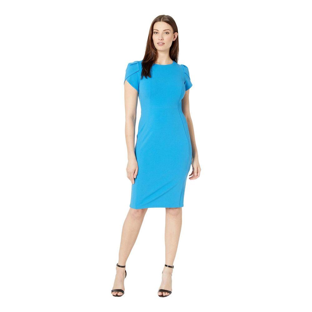 ドナ モルガン Donna Morgan レディース ワンピース・ドレス ワンピース【Tulip Sleeve Crew Neck Sheath Dress】Aqua