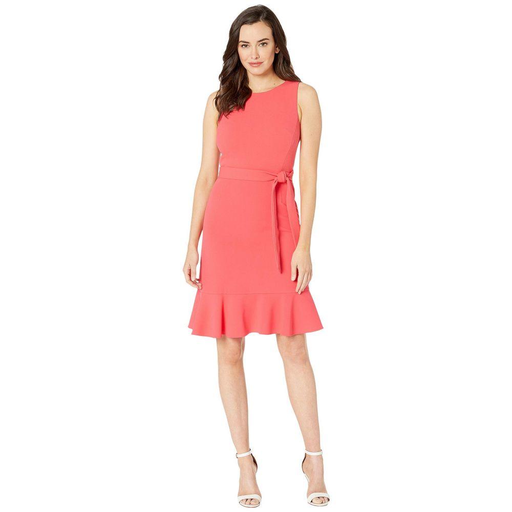 カルバンクライン Calvin Klein レディース ワンピース・ドレス ワンピース【Ruffle Hem Dress w/ Tie Belt】Watermelon
