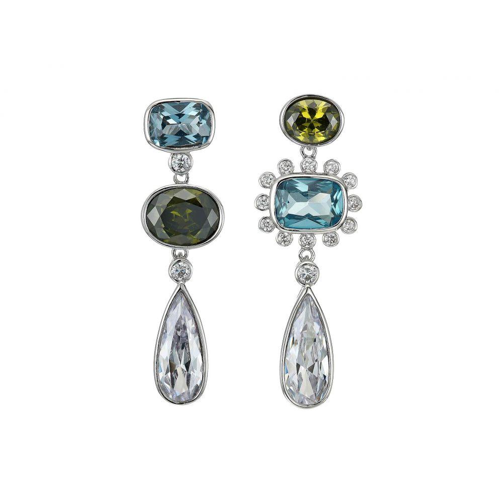 ニナ Nina レディース ジュエリー・アクセサリー イヤリング・ピアス【Mismatch Drop Earrings】Rhodium/Aqua CZ/Peridot Crystal