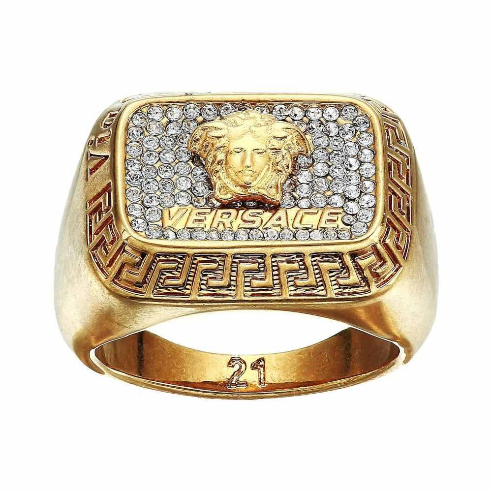 ヴェルサーチ Versace メンズ ジュエリー・アクセサリー 指輪・リング【Multi Crystal Medusa Ring】Tribute Gold/Crystal