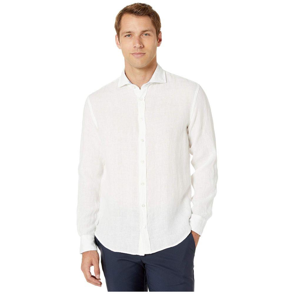 ブガッチ BUGATCHI メンズ トップス シャツ【Long Sleeve Linen Shirt】White