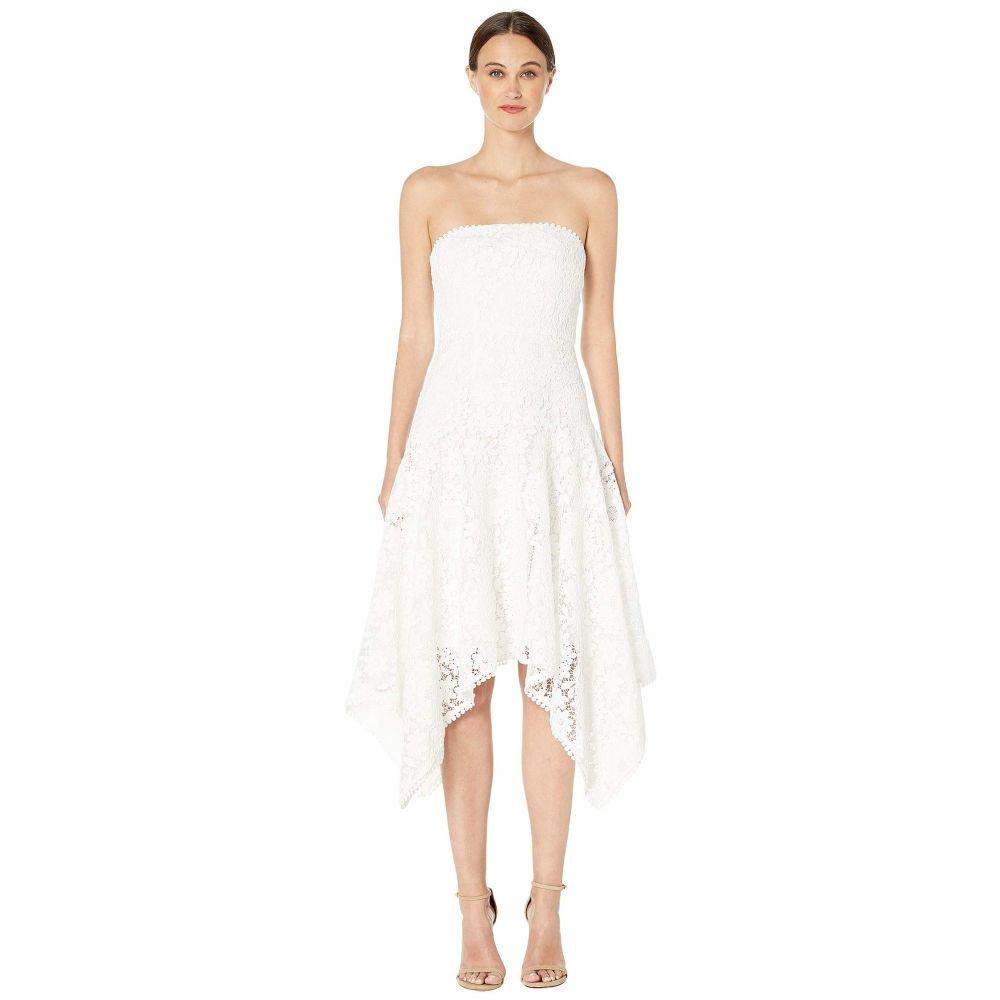 モニーク ルイリエ ML Monique Lhuillier レディース ワンピース・ドレス ワンピース【Floral Lace Calf Length Asymmetrical Dress】White