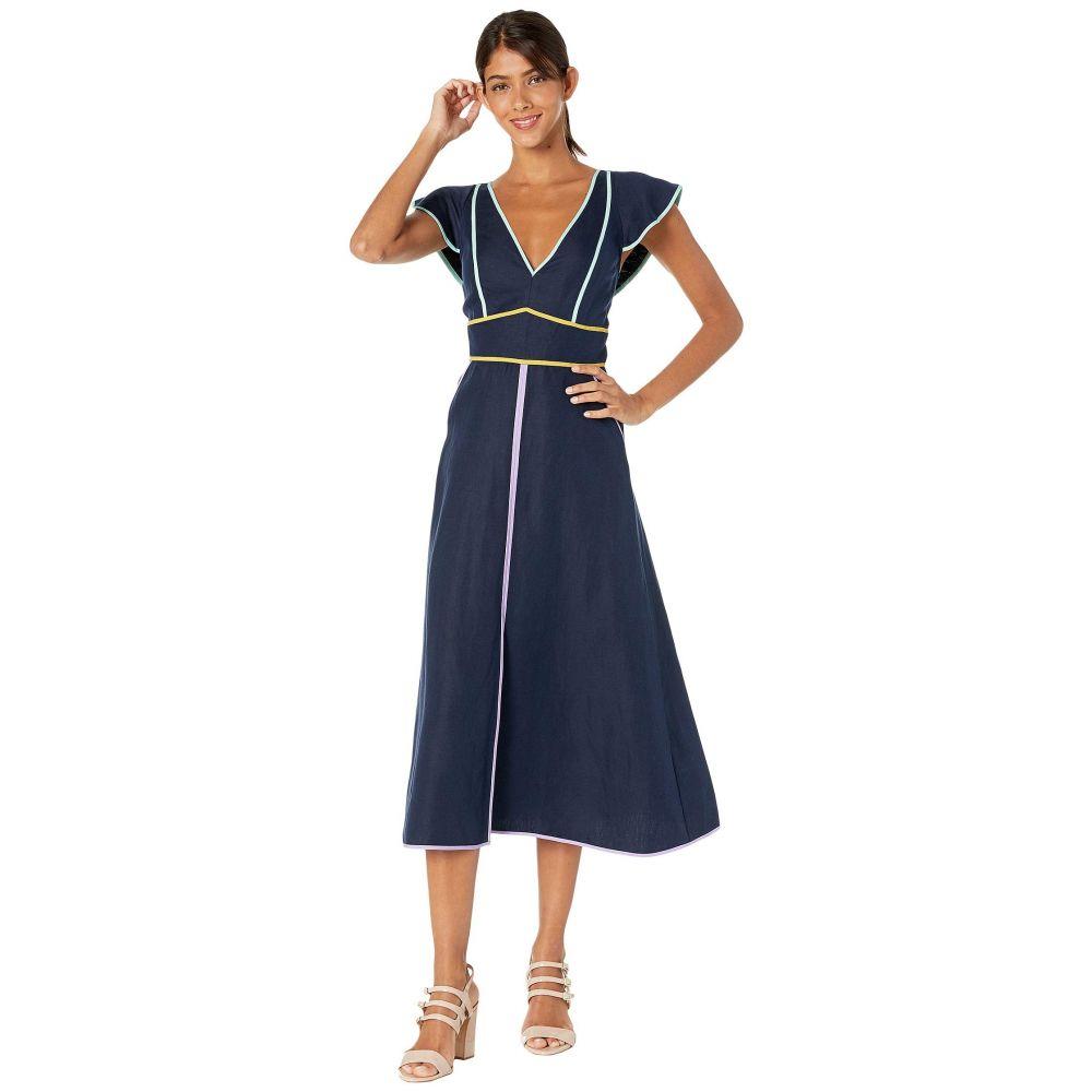 ケイト スペード Kate Spade New York レディース ワンピース・ドレス ワンピース【Linen Contrast Trim Dress】Prisan Navy