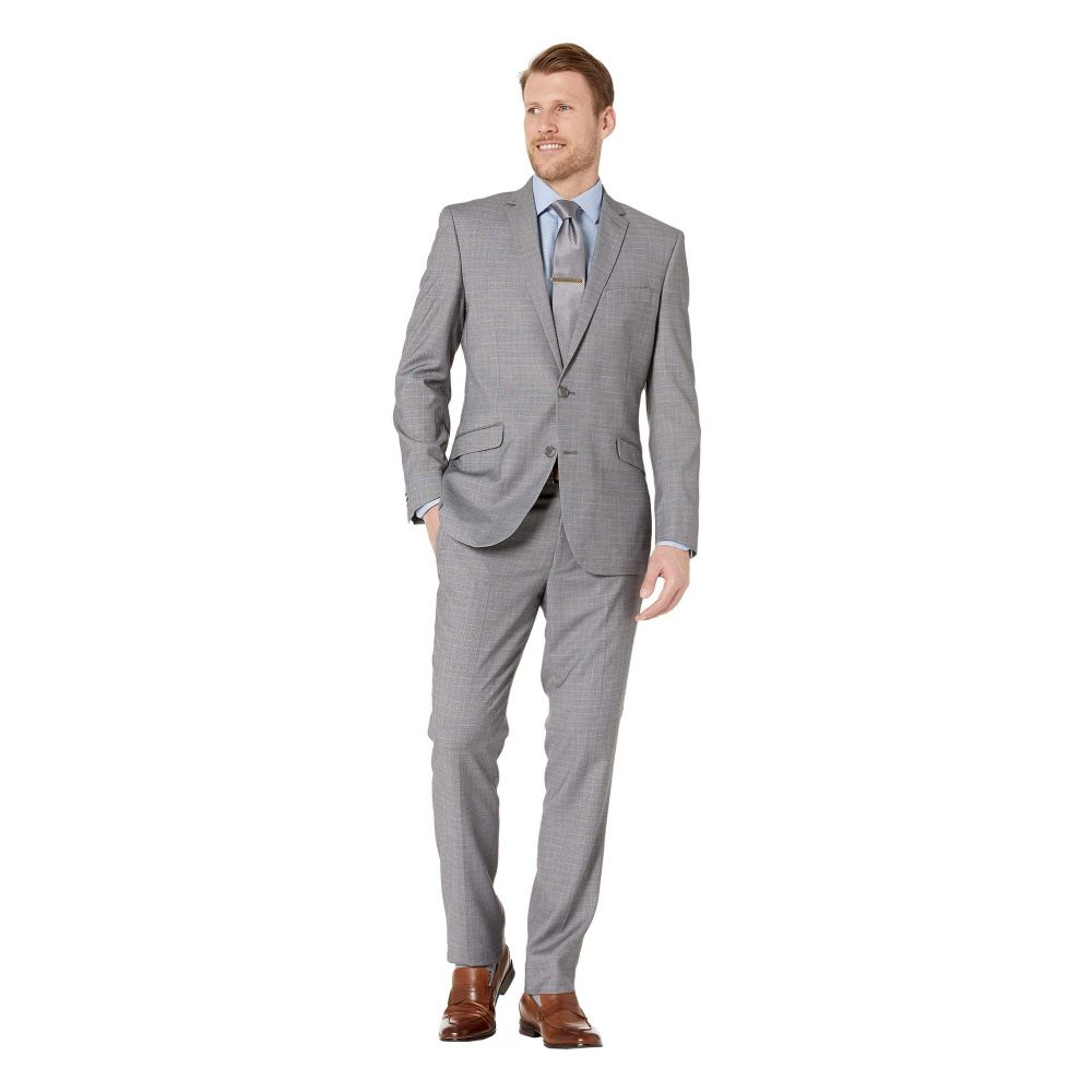 ケネス コール Kenneth Cole Reaction メンズ アウター スーツ・ジャケット【Plaid Slim Fit Stretch Performance Suit】Grey