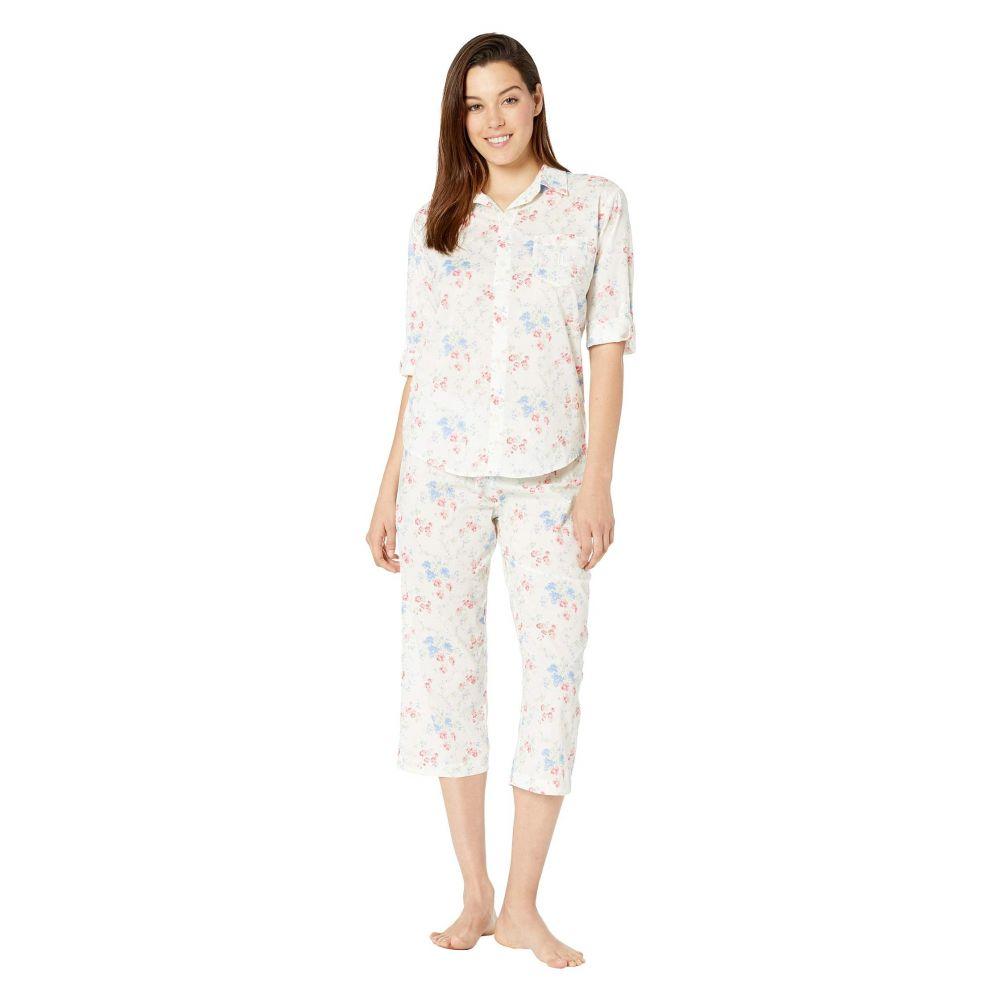 ラルフ ローレン LAUREN Ralph Lauren レディース インナー・下着 パジャマ・上下セット【3/4 Roll Tab Sleeve His Shirt Capri Pajama Set】Ivory Floral
