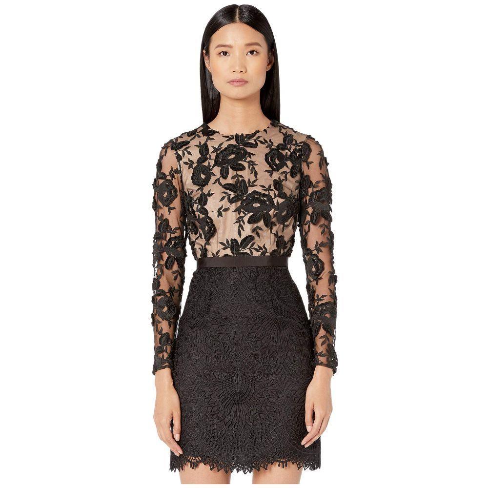 モニーク ルイリエ ML Monique Lhuillier レディース ワンピース・ドレス ワンピース【Floral Calypso Lace Dress】Black/Nude