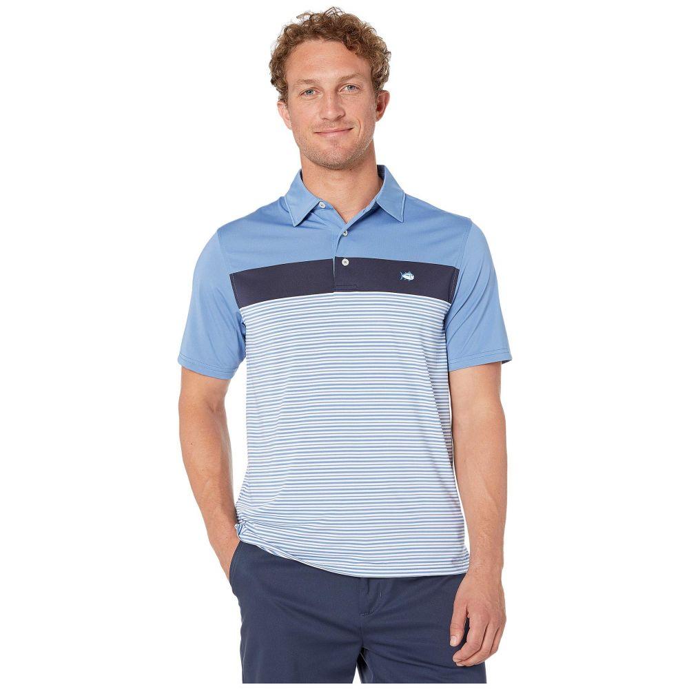 サザンタイド Southern Tide メンズ トップス ポロシャツ【Montecito Stripe Performance Polo】Endless Blue