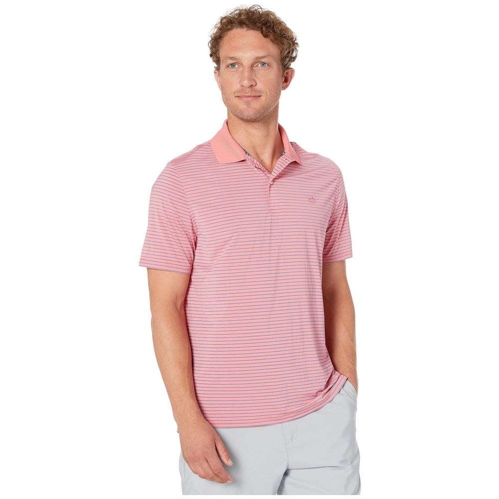 サザンタイド Southern Tide メンズ トップス ポロシャツ【Barrier brrr Performance Striped Polo Shirt】Rouge Red