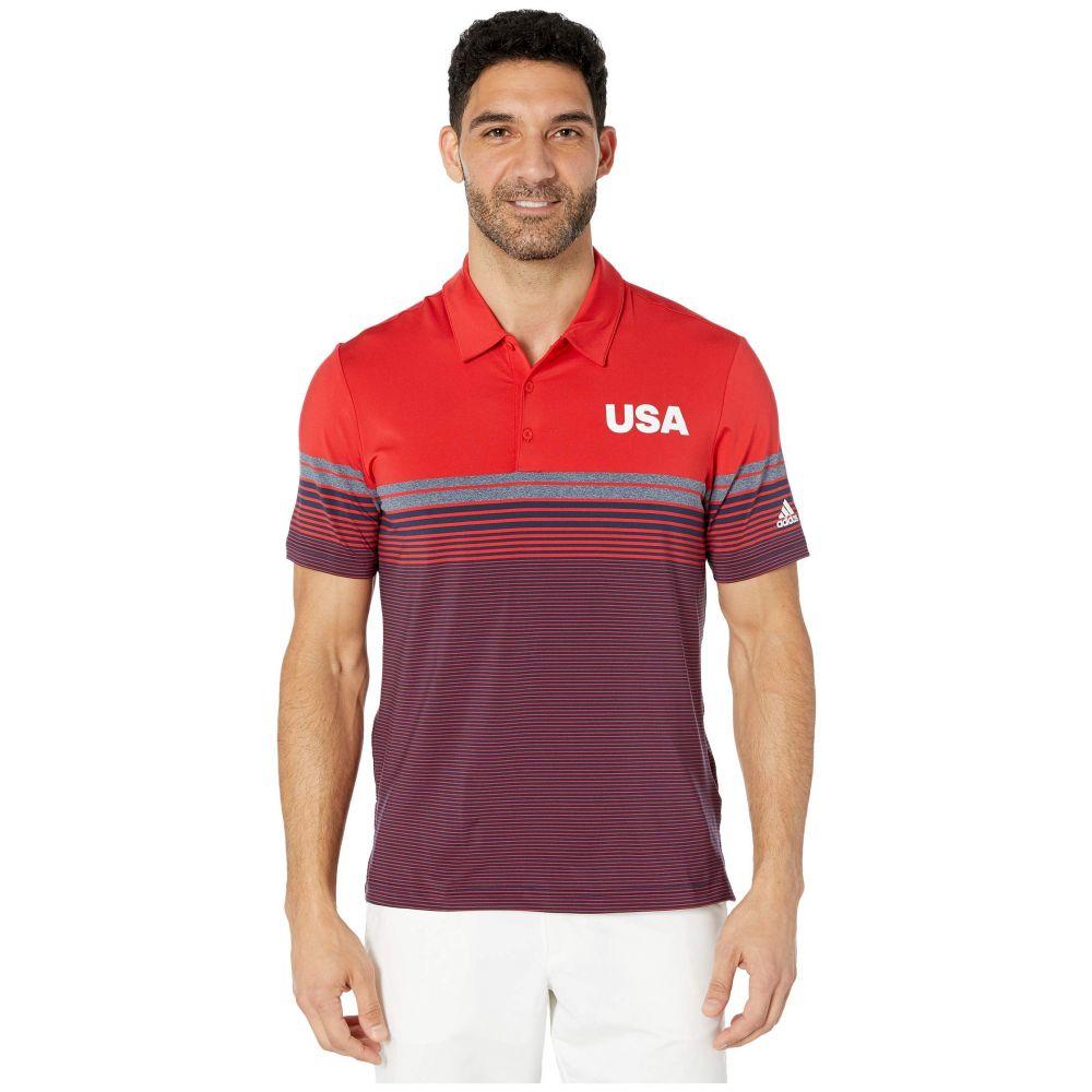アディダス adidas Golf メンズ ゴルフ トップス【USA Golf Ultimate Bold Stripe Polo】Collegiate 赤