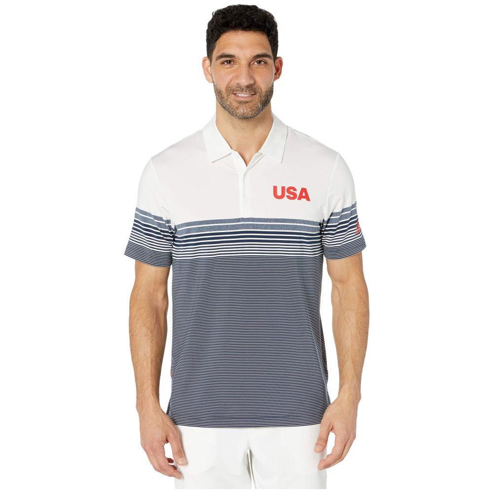 アディダス adidas Golf メンズ ゴルフ トップス【USA Golf Ultimate Bold Stripe Polo】白い