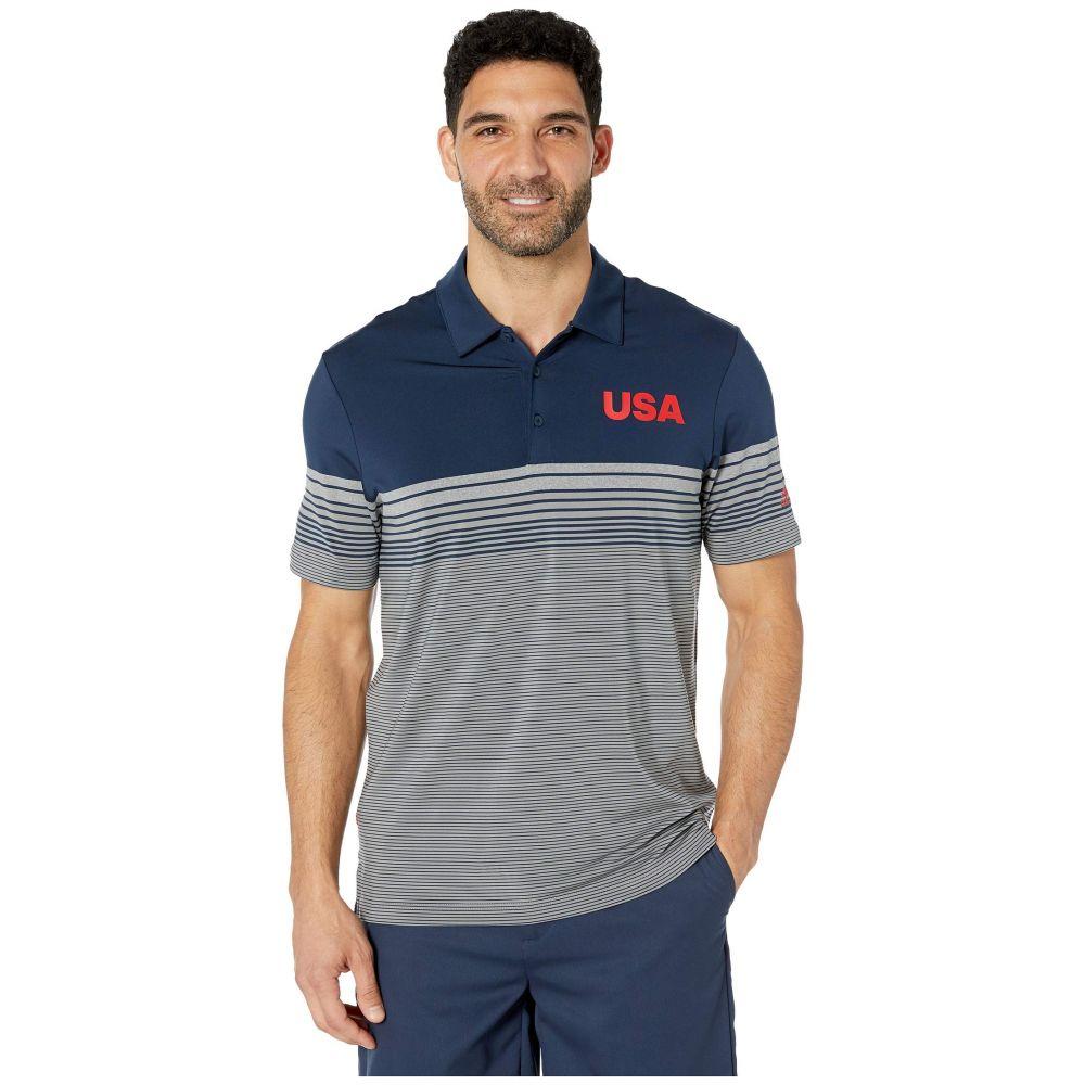 アディダス adidas Golf メンズ ゴルフ トップス【USA Golf Ultimate Bold Stripe Polo】Collegiate Navy