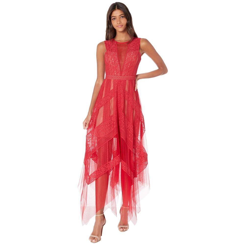 ビーシービージーマックスアズリア BCBGMAXAZRIA レディース ワンピース・ドレス ワンピース【Asymmetrical Hem Lace Evening Dress】New Red