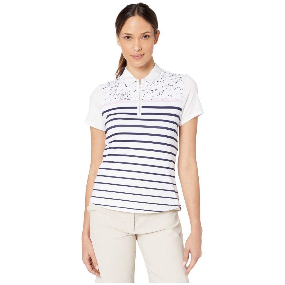 キャロウェイ Callaway レディース トップス ポロシャツ【Mini Print Short Sleeve Striped Polo】Brilliant White
