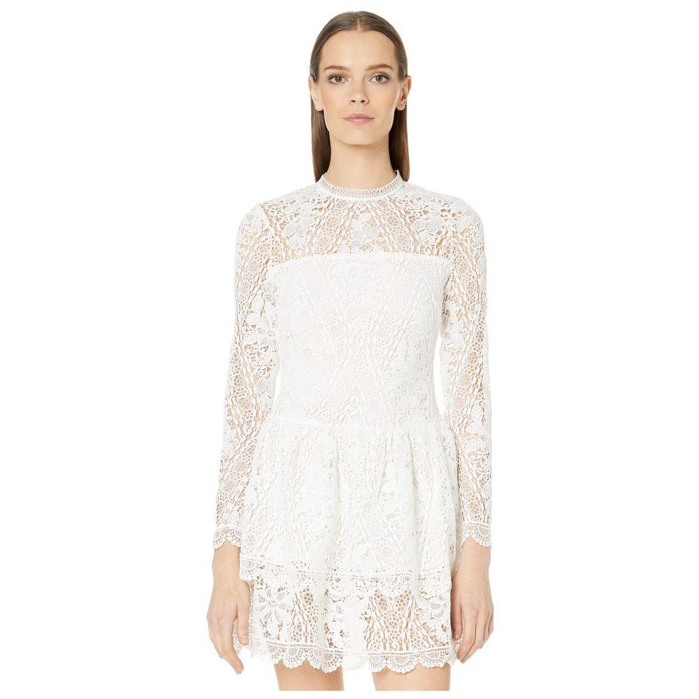 モニーク ルイリエ ML Monique Lhuillier レディース ワンピース・ドレス ワンピース【Long Sleeve Dress with Scalloped Hem Detail】White
