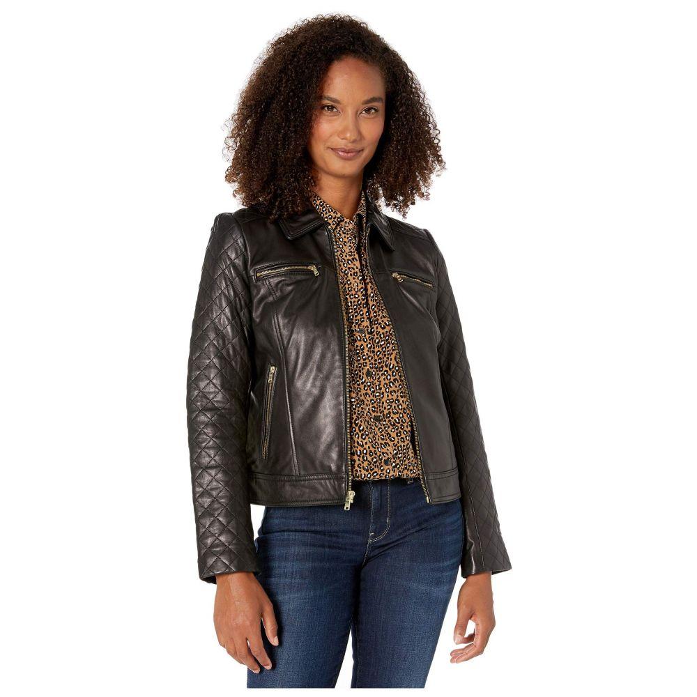 コールハーン Cole Haan レディース アウター レザージャケット【Diamond Quilt Leather Jacket】Black