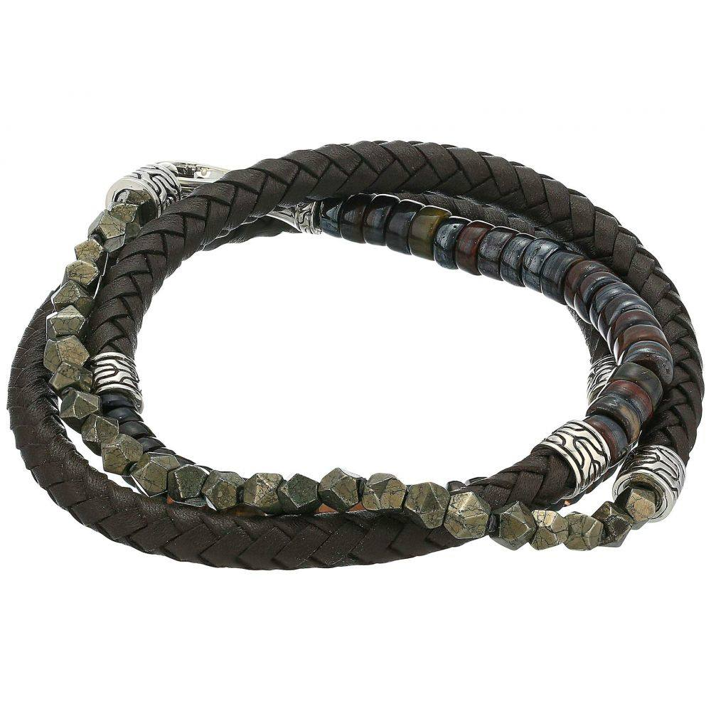 ジョン ハーディー John Hardy メンズ ジュエリー・アクセサリー ブレスレット【6 mm Classic Chain Silver Triple Wrap Bracelet on Brown Leather with Hook Clasp】Brown