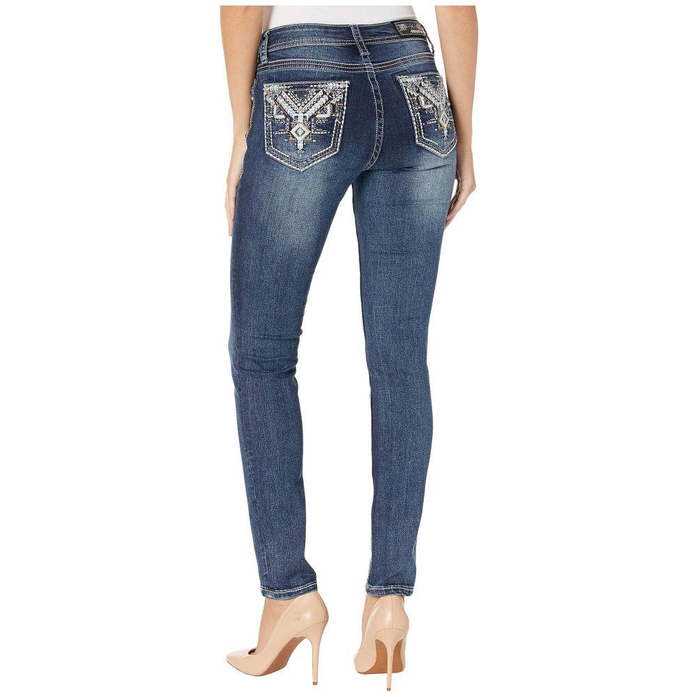 グレース イン LA Grace in LA レディース ボトムス・パンツ【Mid-Rise Skinny Aztec Jeans with Leather in Dark Blue】Dark Blue