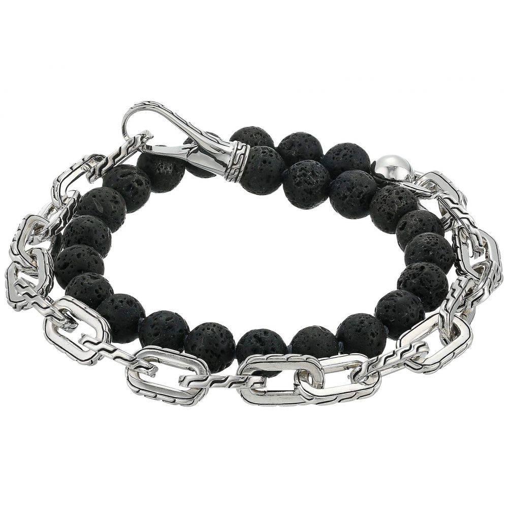 ジョン ハーディー John Hardy メンズ ジュエリー・アクセサリー ブレスレット【Classic Chain Double Wrap Bracelet w/ Hook Clasp with 8mm. Volcanic Beads】Silver