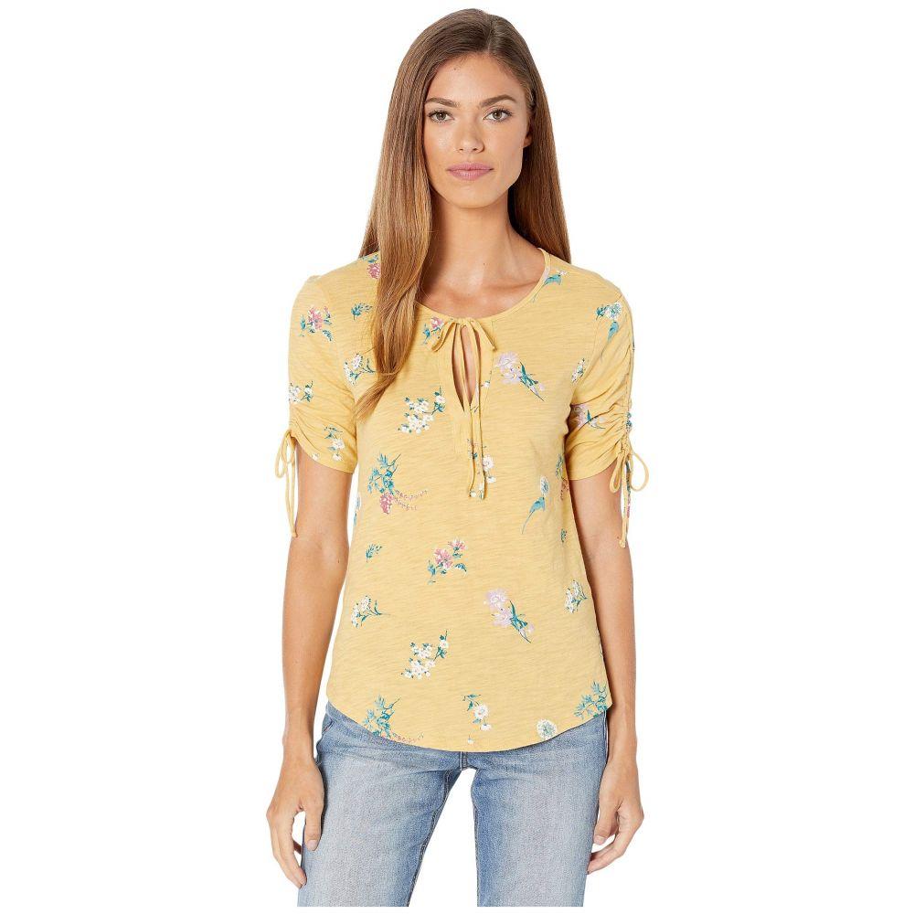 ラッキーブランド Lucky Brand レディース トップス Tシャツ【Ruched Short Sleeve Notch Neck Top】Mustard Multi